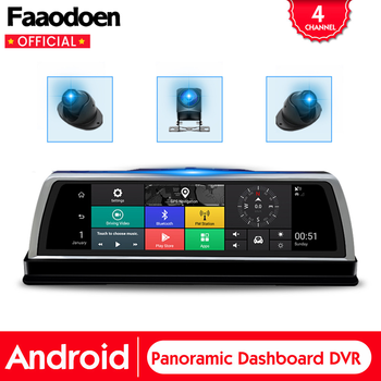 """4G Car DVR Center Console 360° Panoramic 10"""" Android Rearview Mirror 4 Channel Cameras Video Recorder ADAS Wifi GPS Dash Cam"""
