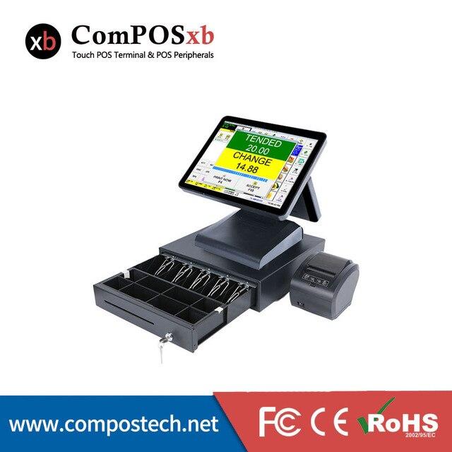 Système de point de vente au détail pour supermarché, Machine à ordinateur de bureau avec double écran de 15 pouces, avec imprimante et tiroir-caisse 1