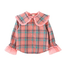 3-5T Baby Girl Blouse Lovely Children Plaid Print Wear Bottoming Long-Sleeved Sweet Single Breast Buckle Lapel Tops #m