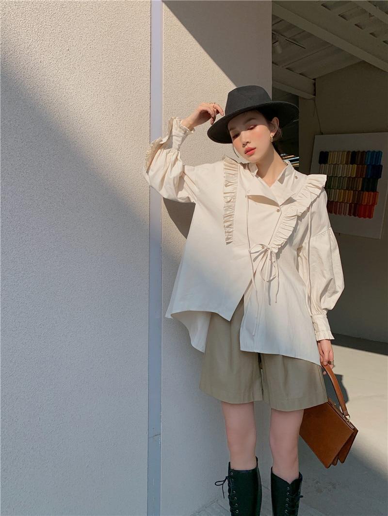 CHEERART Spring 2021 Cotton Lantern Sleeve Designer Shirt Long Sleeve Beige Stand Collar Tie Fashion Women Top And Blouse Women Women's Blouses Women's Clothings
