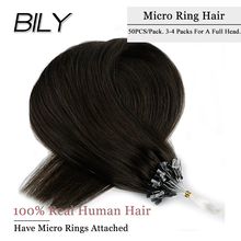 BILY Micro Loop 100% Real Human Hair Extensions Straight Machine Remy Micro Ring Beads Hair 16