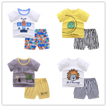 Summer 2020 cartoon printed cotton suit for children, baby T-shirt, baby pants, boys T-shirt, girls T-shirt, children's coat stylish monkey king printed t shirt and pencil pants twinset for women