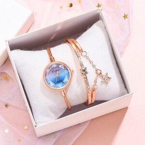 Image 4 - Marka Lvpai kobiety bransoletka do zegarka złoty Casual mały zegarek złoty geometryczny szklana powierzchnia kolorowe zegarek zegarek kwarcowy dla pań
