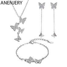 ANENJERY, изысканное 925 пробы Серебряное ослепительное микро циркониевое ожерелье с бабочкой+ серьги+ браслет для женщин, ювелирные наборы