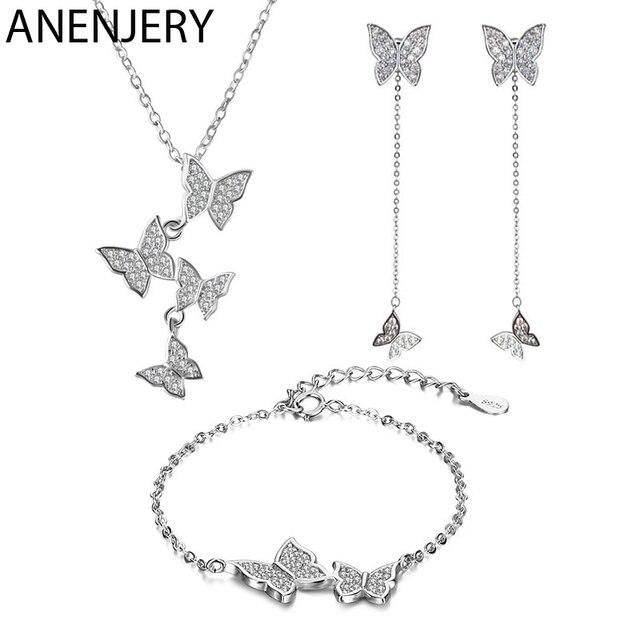 ANENJERY, изысканное 925 пробы Серебряное ослепительное микро циркониевое ожерелье с бабочкой + серьги + браслет для женщин, ювелирные наборы