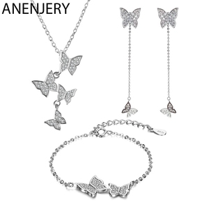ANENJERY Exquisite 925 Sterling Silver Dazzling Micro Zircon Butterfly Tassel Necklace+Earring+Bracelet For Women Jewelry Sets(China)
