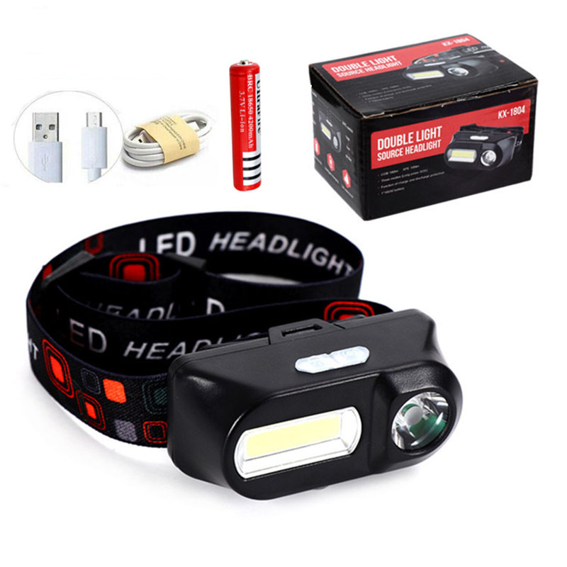 COB LED Headlight Headlamp Head Light Flashlight USB Rechargeable Build-in 18650 Torch Camping Hiking Night Fishing Light