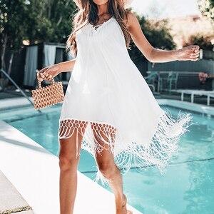 Image 3 - CUPSHE White Crochet Sleeveless Tunic Cover Up Sexy Cut Out V neck Beach Dress Women 2020 Summer Bathing Suit Beachwear