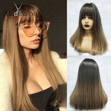 EATON perruques brésiliennes lisses et longues avec frange, noir ombré brun, pour femmes noires, coiffures synthétiques résistantes à la chaleur