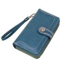 2020 new women's long wallet Korean solid multi-card storage wallet zipper buckle oil wax leather clutch wallet