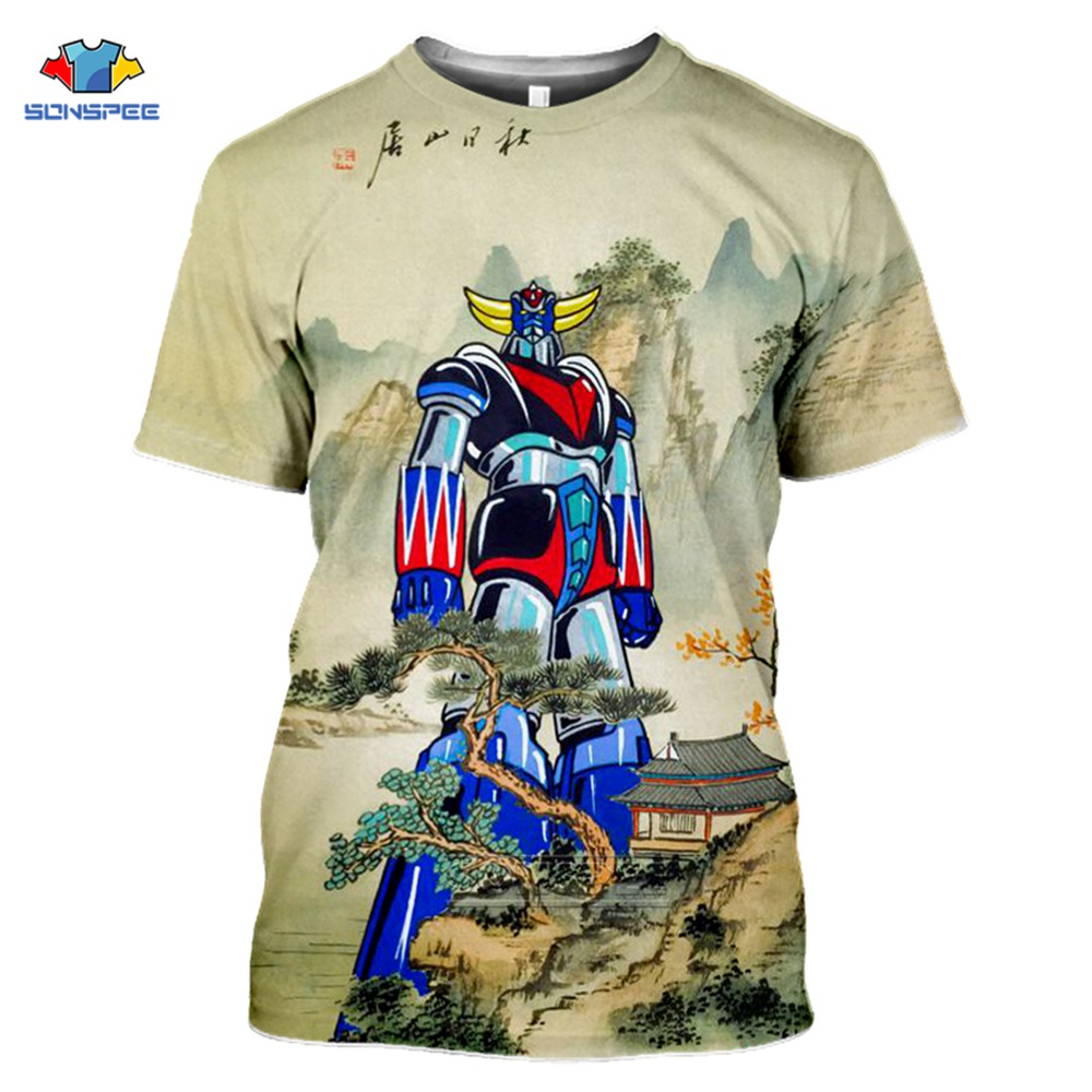 SONSPEE 3D Print Men Women Goldorak T-shirts Casual Streetwear Harajuku Hip Hop Short-Sleeve Vintage Anime Tees Tops Shirt