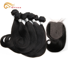 Hair Bundles With T Part Closure Meche Bresilienne Cheveux Humain Curly Bundles With Closure 4*1 Lace Closure With Baby Hair