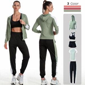 4xl 5 peças conjunto de yoga feminino workout roupas de ginástica roupas de fitness manga longa colheita superior cintura alta leggings ternos esportivos