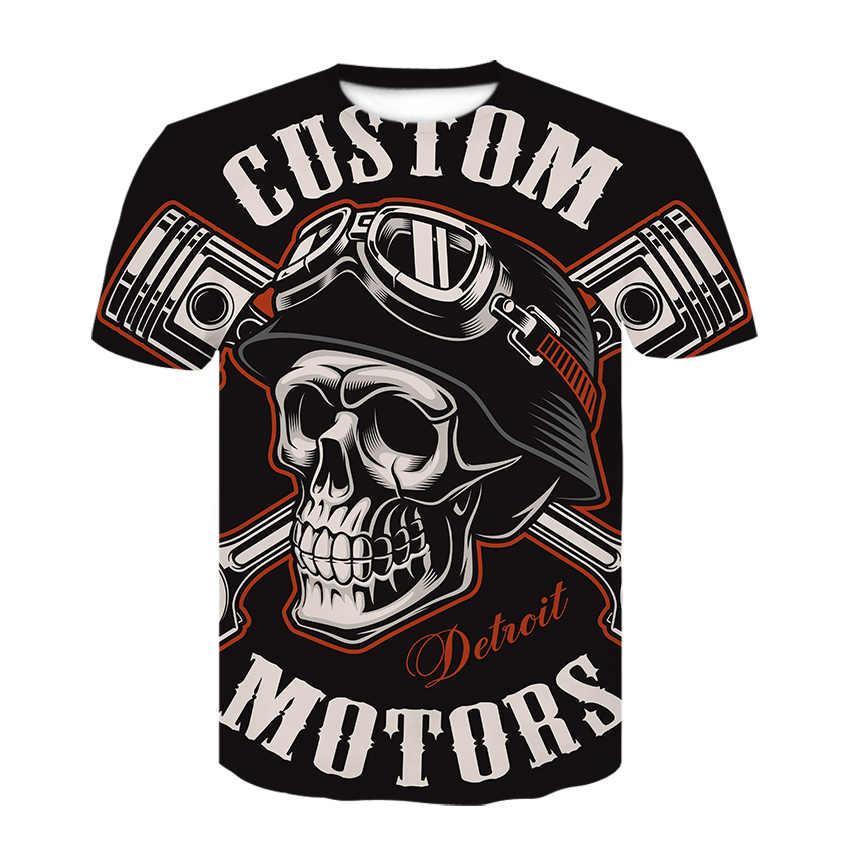 Футболка с черепом Мужская черная футболка забавная одежда в стиле панк-рок повседневная футболка с 3d принтом хип-хоп Мужская одежда 2019 летняя уличная футболка