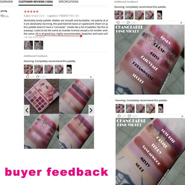 UCANBE Changeable Pink Violet Nude Eye Shadow Palette Makeup 18 Colors Matte Shimmer Glitter Eyeshadow Powder Waterproof Pigment 5