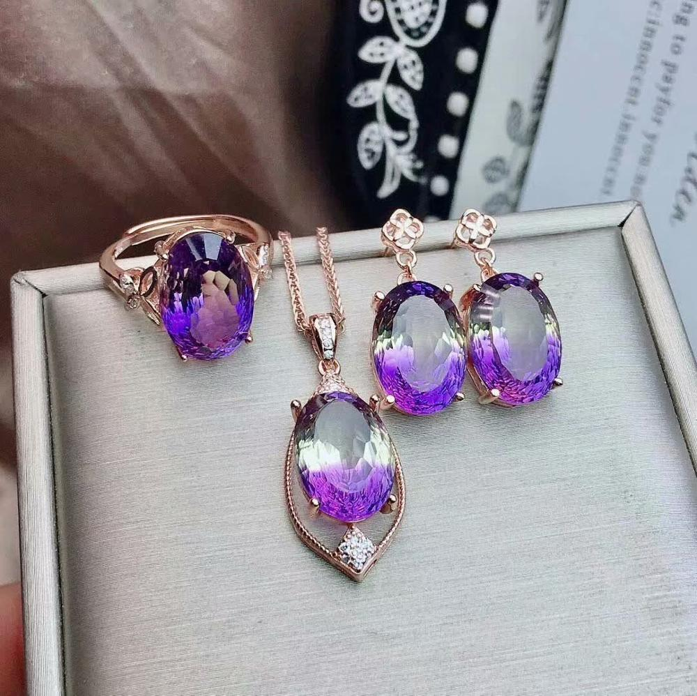 Shilovem 925 argent sterling piézoélectrique amétrine pendentifs anneaux boucles d'oreilles bijoux fins envoyer collier 10*14mm jctz101488agzj