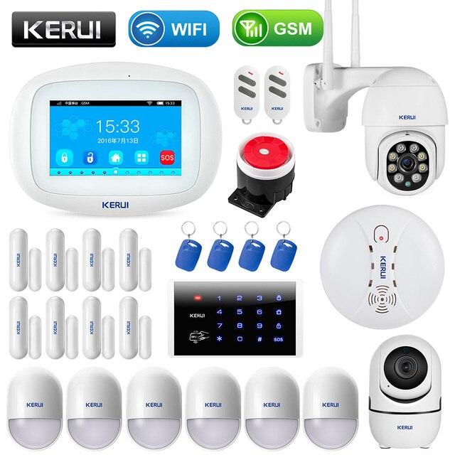 KERUI K52 4.3 Inch Touch Screen App Control Wireless GSM WIFI Home Security Alarm System Sensor Burglar Signal Device IP Camera 1
