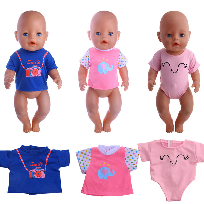 Doll Cute Pattern,Striped Short T-shirt Fit 18 Inch American Doll&43 Cm Born Baby Our Generation Birthday Girl's Toy Gift