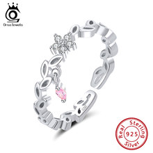 ORSA JEWELS Elegant Flower Vine Leaf Flower Rings Real 925 Sterling Silver AAAA Zircon For Women Jewelry Wedding Gift OSR139(China)