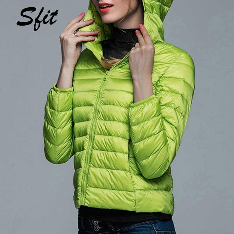 Sfit ฤดูใบไม้ร่วงผู้หญิงฤดูหนาวเสื้อแจ็คเก็ตหญิงหญิง Slim Hooded ยี่ห้อผ้าฝ้ายเสื้อลำลองเสื้อแจ็คเก็ต Basic Light WARM Outwear 2019