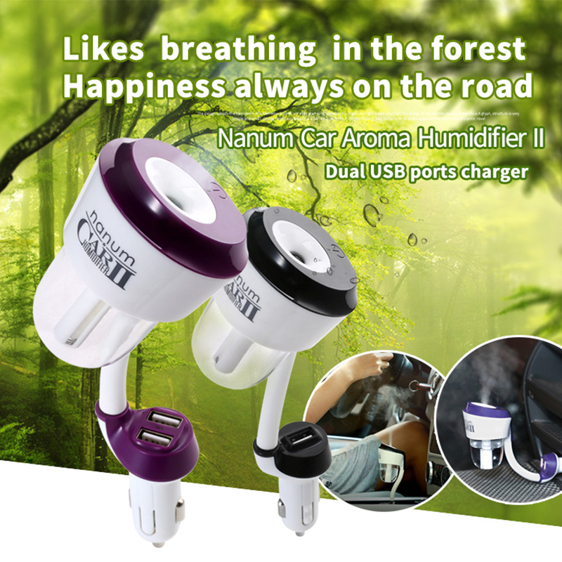 Car Air Purifier 12V Car Steam Air Humidifier Aroma Diffuser Mini Air Purifier Aromatherapy Essential with 2 USB Car Charger