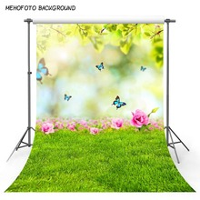 Mehofond春緑の草自然景観を背景蝶の花ベビー肖像写真撮影の背景写真スタジオの小道具