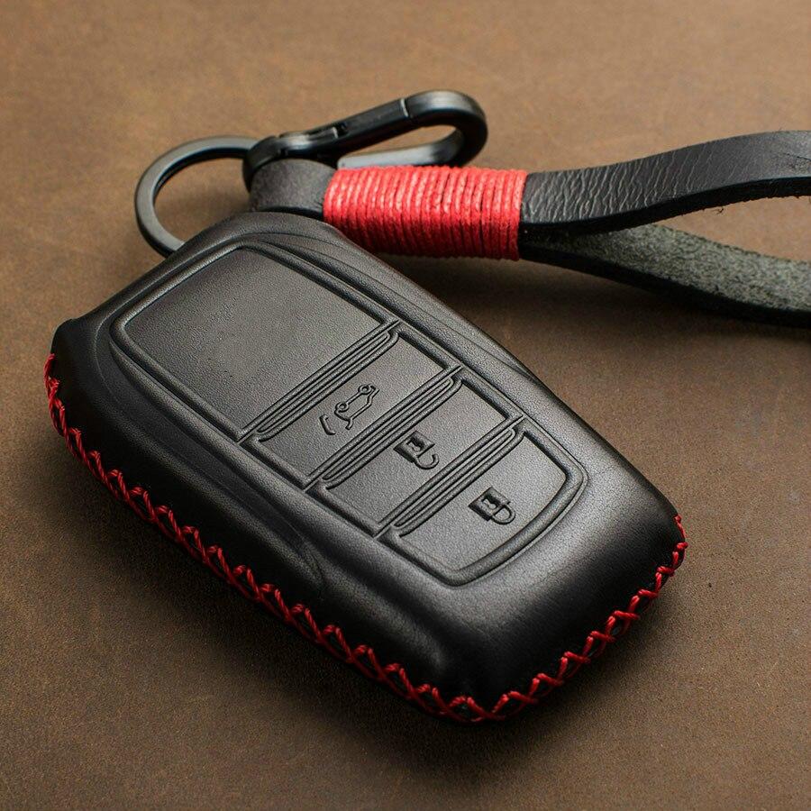 1 шт. из натуральной кожи чехол для дистанционного ключа от машины Обложка для Toyota Chr Land Cruiser 200 Avensis Auris Corolla 2 и 3 кнопки ключ кожух цепной перед...