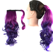 Synthetic Ponytails Clip In On Hair Extensions Ombre Colorful Body Wave Pony tail 22inch 100g For Women Party