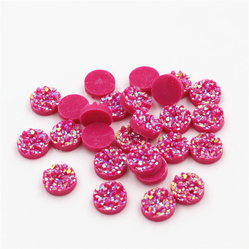New Fashion 8mm 10mm 40pcs Dark Rose Red AB Colors Natural Ore Style Flat Back Resin Cabochons For Bracelet Earrings Accessories