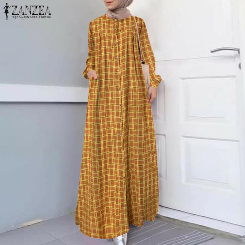 Casual Islamic Clothing Robe Muslim Fashion Dress Spring Maxi Long Dress Women Long Sleeve Button ZANZEA Vintage Hijab Sarafans 4