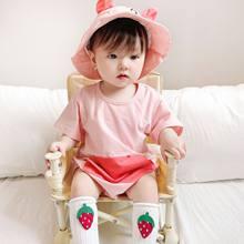 Yg marca roupas infantis verão novo bebê meninos e meninas bonito dos desenhos animados animal chapéu de manga curta um-pedaço terno do bebê