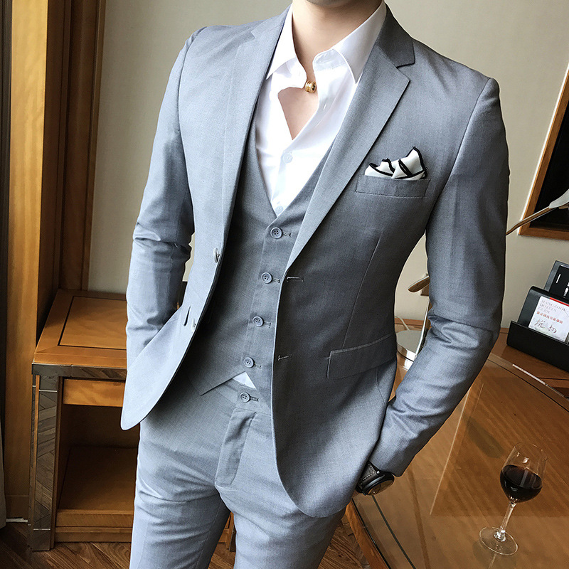 2019 Autumn And Winter Korean-style Slim Fit Two-Button MEN'S Suit Set Groom Refreshing Suit Three-piece Set Solid Color Best Ma