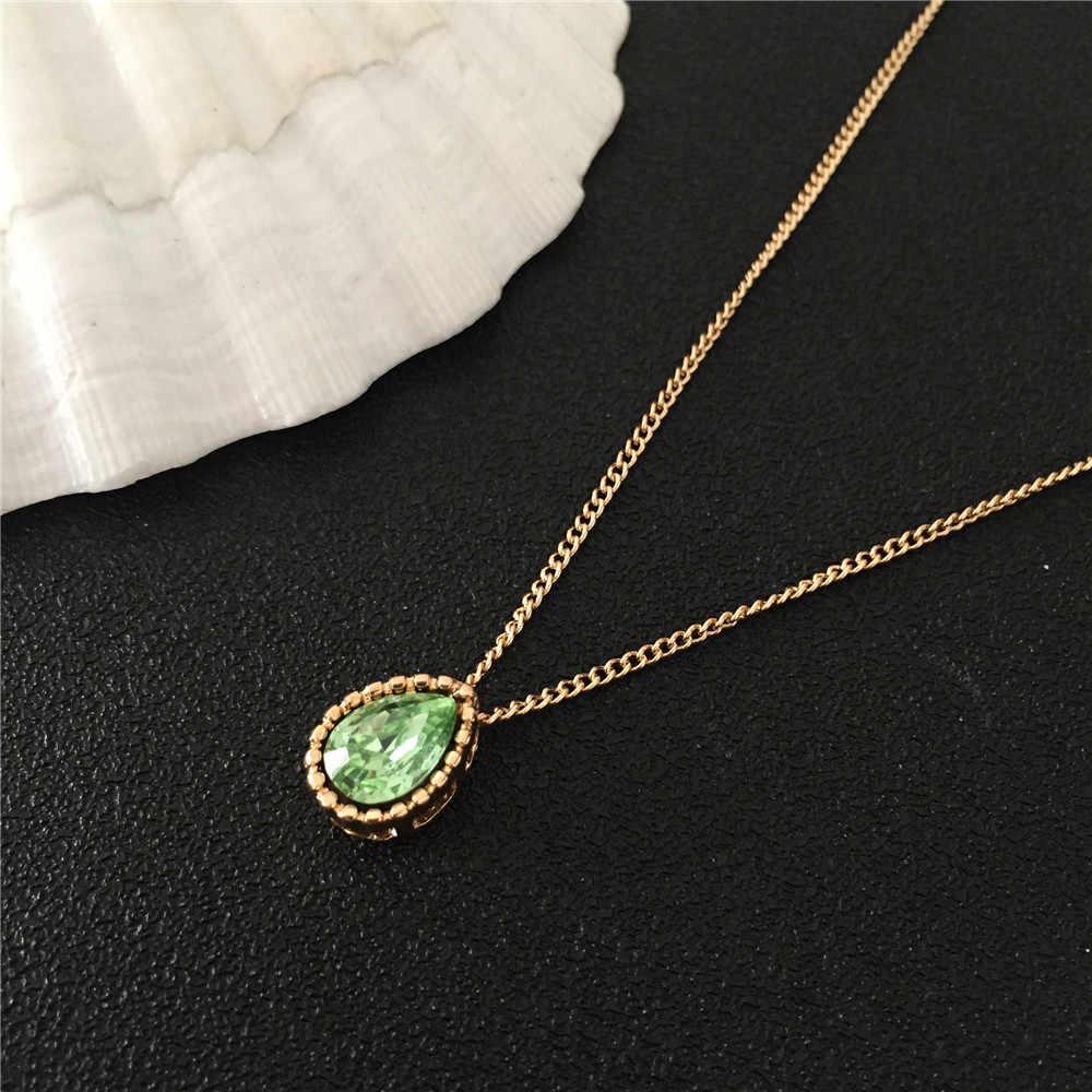 ใหม่แฟชั่น Elegant Shiny จี้สร้อยคอเรซิ่นสีเขียว Tear Shape จี้สั้นสร้อยคอสร้อยคอสำหรับของขวัญเลดี้