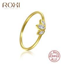 ROXI 925 en argent Sterling trois pierre claire CZ Simple bagues pour les femmes cadeau bague de fiançailles bandes de mariage déclaration bijoux