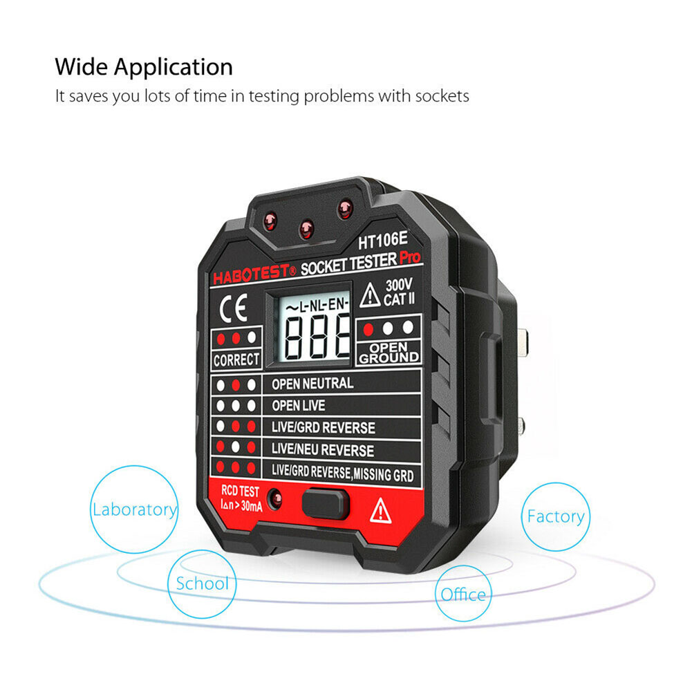 Mini Polarity Wall Ground Zero Line Finder Portable Mains Fault Socket Tester Digital Electrical LCD Display Circuit Voltage