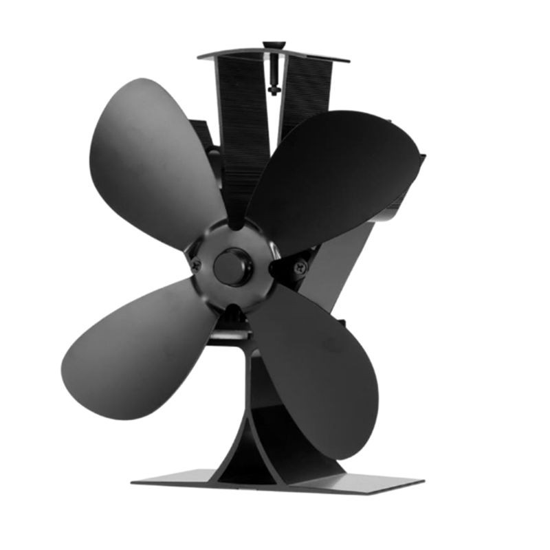 Home Silent Stove Fan With 4 Blades Heat Powered Electrical Fan For Fireplace A5YD
