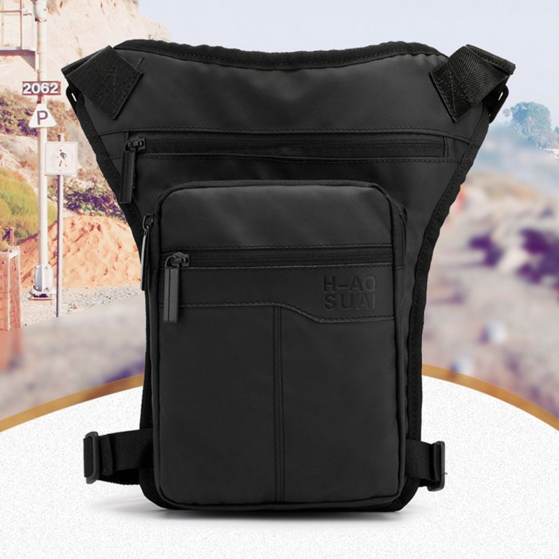 Men Nylon Motorcycle Hip Belt Waist Fanny Pack Riding Travel Shoulder Messenger Crossbody Bags Thigh Drop Leg Bag A69C