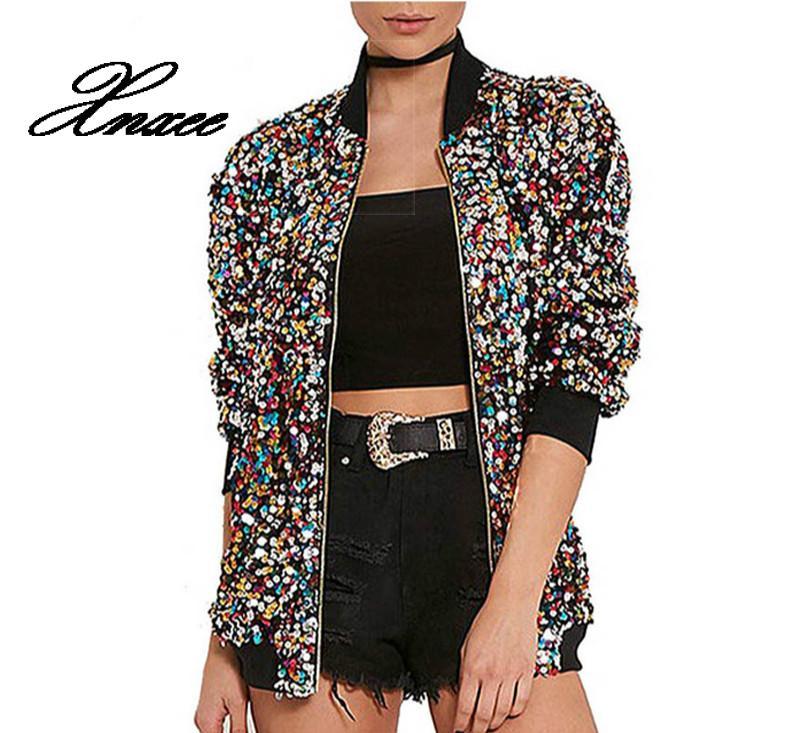 Xnxee autumn sequin bomber   jacket   women   basic   coats cardigan long Sleeve baseball   jackets   winter