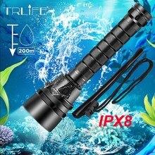 IPX8 עמיד למים מקצועי חזק סופר בהיר led צלילה פנס צולל אור LED מתחת למים לפיד מנורת Lanterna