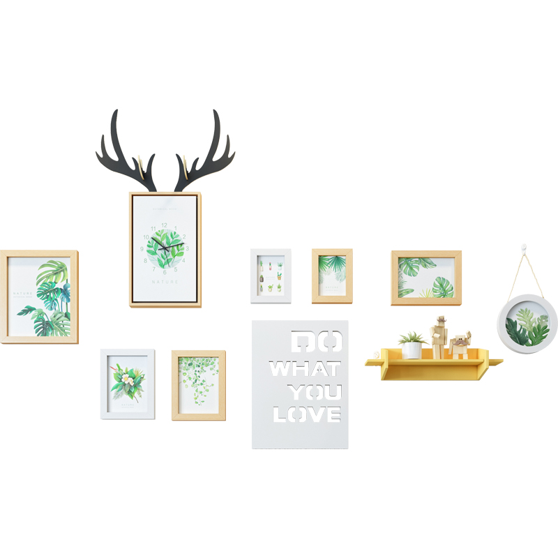 Deer Square Wall Clock Photo Frame Creative Art Simple Wall Clocks Vogue Nordic Living Room Zegar Scienny Home Decoration SS50WC