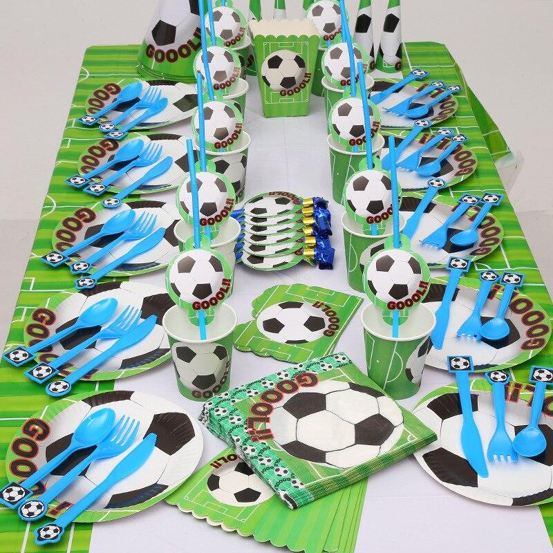 Одноразовая посуда в футбольном стиле, тарелки, салфетки, сувениры для детей на день рождения, Мультяшные чашки, Подарочный пакет, товары для детских праздников, Декор Украшения своими руками для вечеринки      АлиЭкспресс