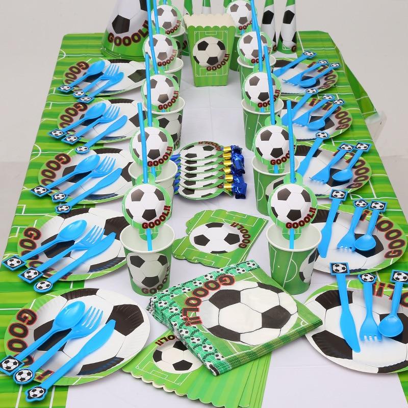 Одноразовая посуда в футбольном стиле, тарелки, салфетки, сувениры для детей на день рождения, Мультяшные чашки, Подарочный пакет, товары дл...