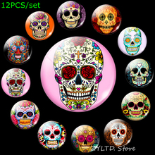 Sugar Skull Fridge Magnet Mexico Art Cartoon Refrigerator Magnets Skull Stickers Decoration 12PCS/set Glass Cabochon Home Decor dubai tourist souvenirs fridge magnets khalifa tower saudi arabia refrigerator commemorative magnet stickers home decoration