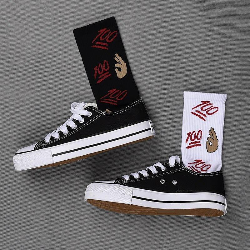 Unisex Vintage Knitted Long Funny Socks Women OK Gesture Printed Hip-Hop Trendy Cotton Hosiery Skateboard Female Streetwear Sox