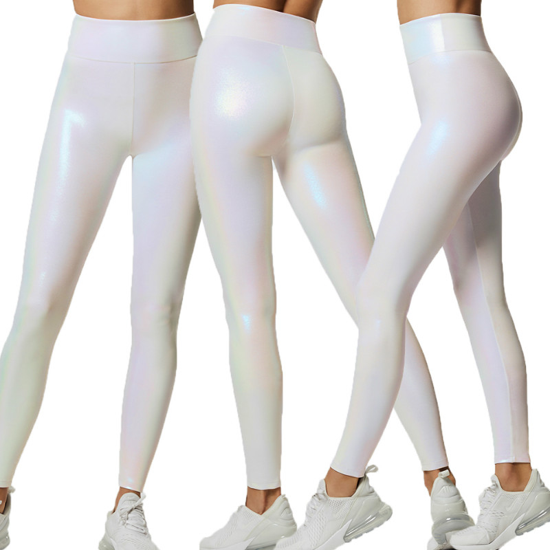 New Women Fashion Yoga Workout Gym Shiny Sports Pants Leggings Fitness Stretch Trousers Solid Pants