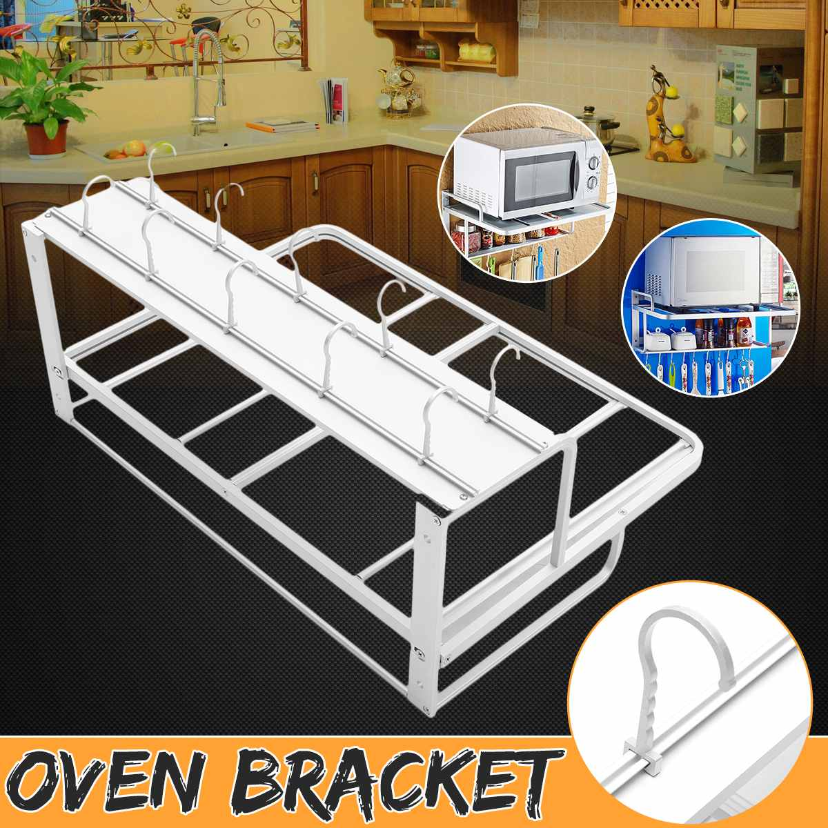 Double Wall Mounted Oven Rack Anti-rust Non-slip Space Aluminum Microwave Bracket Kitchen Storage Rack With Hook Kitchen Supplie