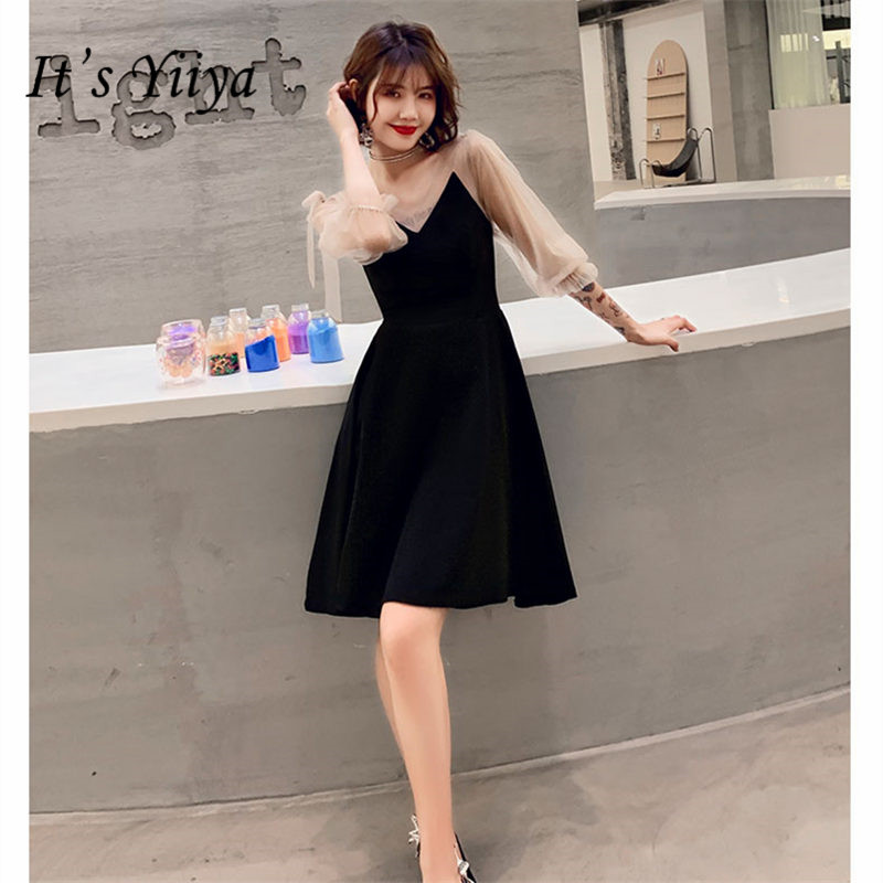 It's YiiYa Cocktail Dress 2019 V-Neck Half Sleeve Little Black Robe Cocktail Ball Gowns Above Knee  Woman Party Dresses E827