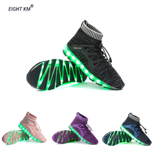 EIGHT KM Children Luminous Shoes LED 7 Colors Lights Sneakers Halloween Boys Girls light Flyknit Sport Running Fashion Sneaker