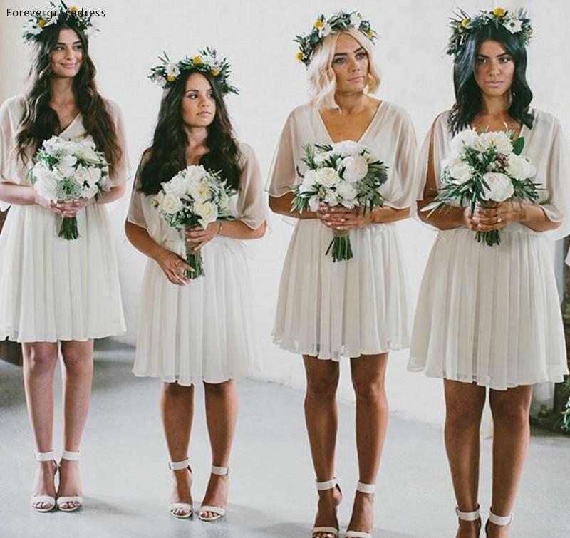Cheap Summer Beach Bridesmaid Dress Short Flow Chiffon Boho Wedding Party Maid Of Honor Gown Plus Size Custom Made