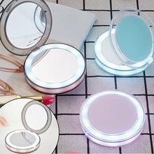Зеркало для макияжа с подсветкой составляют зеркало Сид компактное зеркало мини-зеркало для макияжа увеличить ручной сложить портативный августа